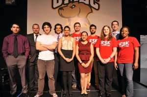 Idea Competition Winners (shown left to right). Back row: Josh Massey, Andres Camacho, Joseph Booth, Sabeeh Hameed, Cameron Stalder. Front row: Hashem Kanfash, Luis Queral, Ayushi Aggarwal, Amrita Anand, Bethany Cook, Nicole Dawkins.